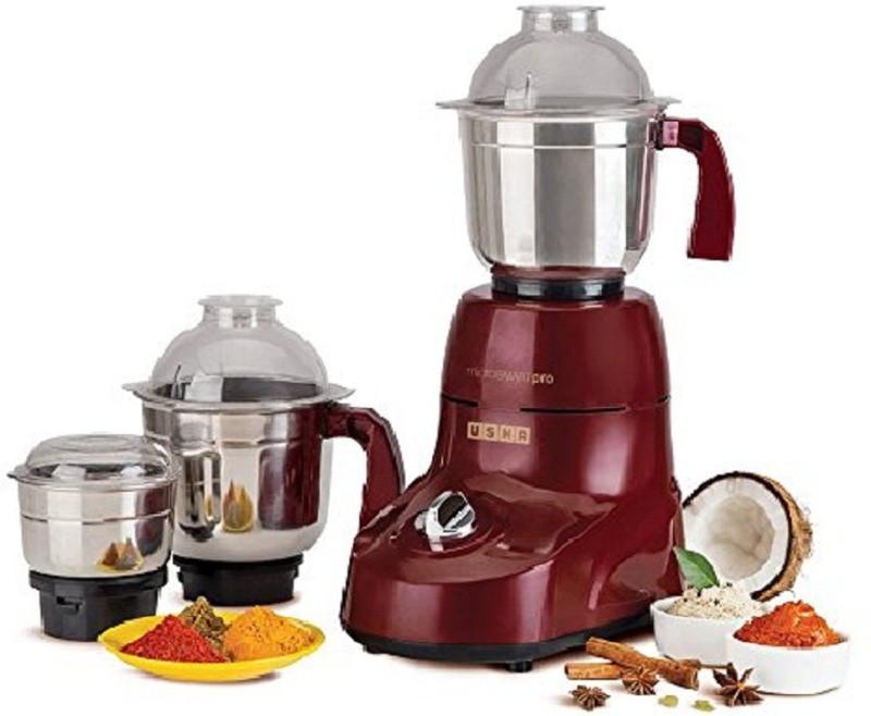 Usha 8960 Microsmart Pro 3773 750-Watt Mixer Grinder with 3 Jars (Wine) 750 Mixer Grinder(Red, 3 Jars)