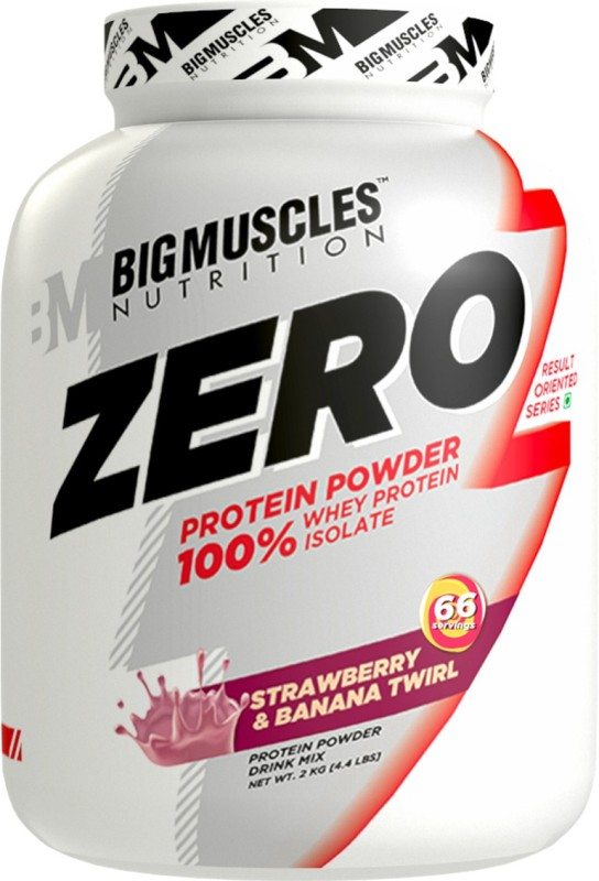 BIGMUSCLES NUTRITION ZERO Protein Powder from 100% WHEY ISOLATE Whey Protein(4.4 pounds, Strawberry Banana Twirl)