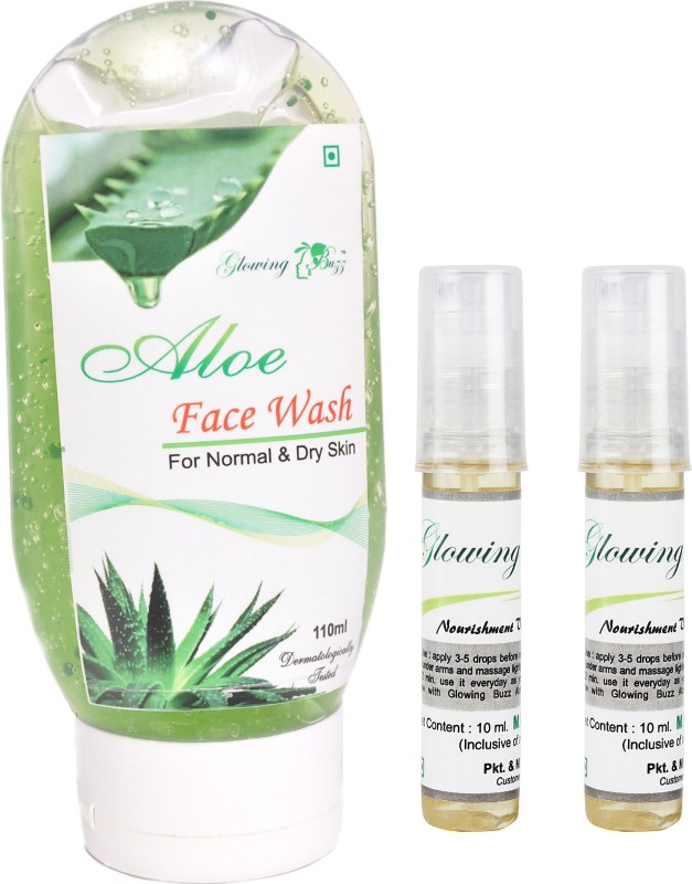 Glowing Buzz Combo of 1 Aloe Face Wash And 2 Herbal Nourishment Vitamin E Oil(Set of 3)