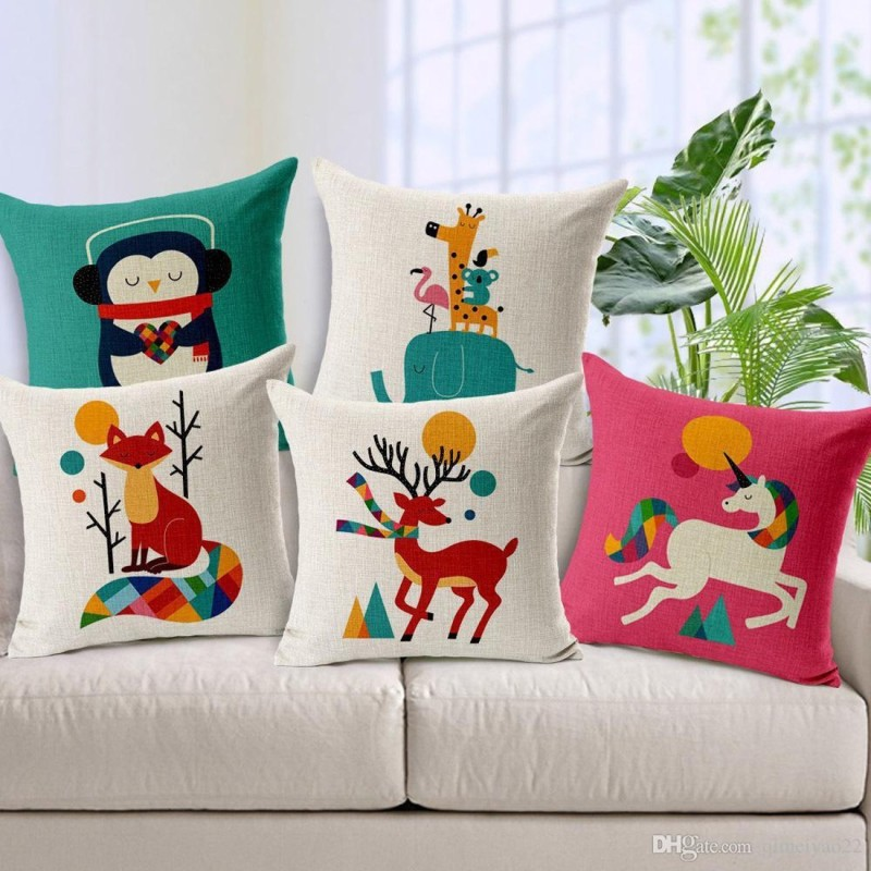 Stepupp Grow Printed Cushions & Pillows Cover(Pack of 5, 40 cm*40 cm, Multicolor)