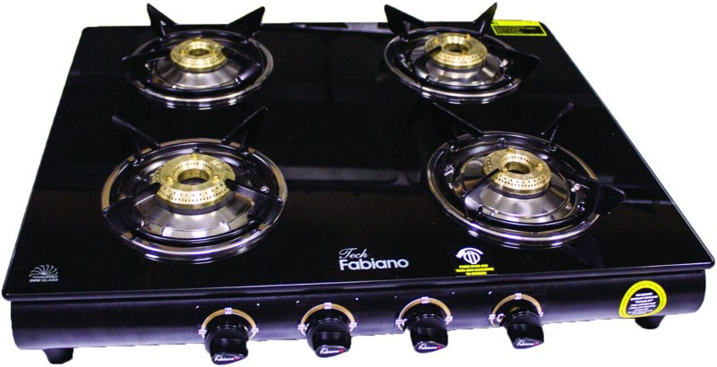 Fabiano ( G-400 ) 4 Burner Top Glass, Stainless Steel Manual Gas Stove(4 Burners)