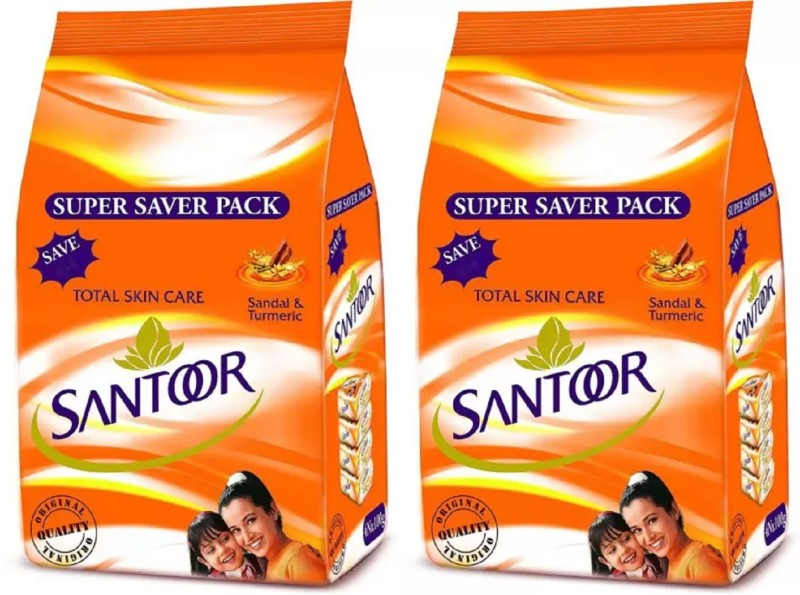 Santoor Sandal and Turmeric Soap Super Saver Family Pack 100g x 4 Each (Pack of 2)(100 g, Pack of 2)