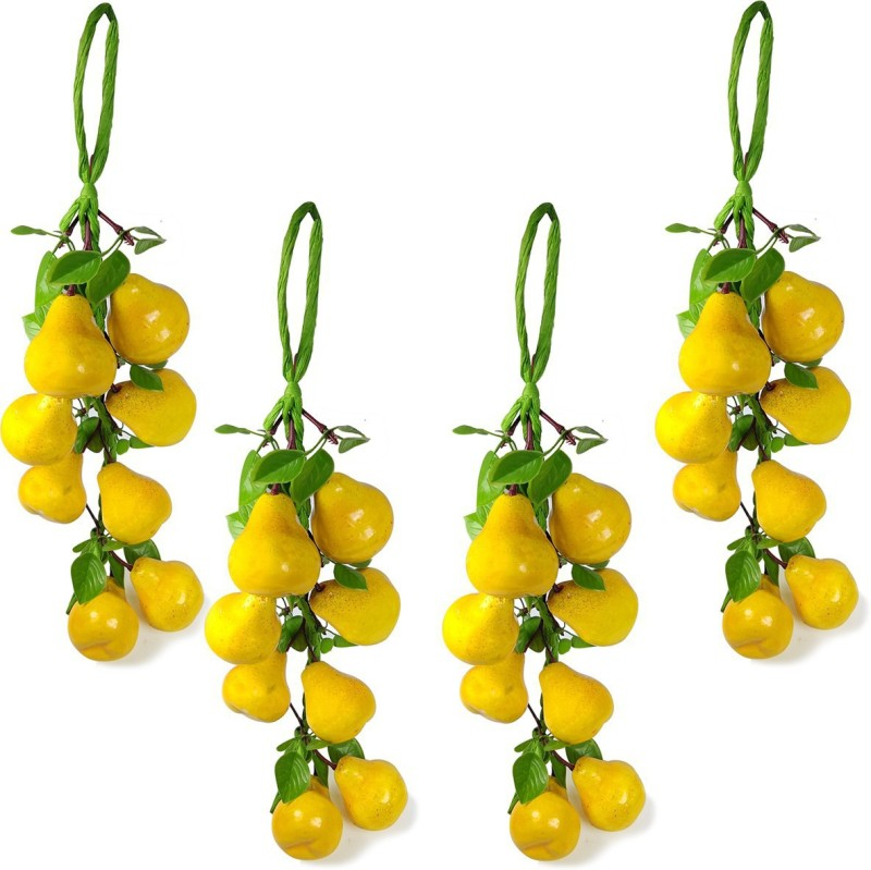 Reiki Crystal Products Artificial Yellow Pear for Kitchen Wall Hanging Decor Parties Restaurants Table Centerpiece Décor Pack of 4 pc Artificial Fruit(Set of 4)