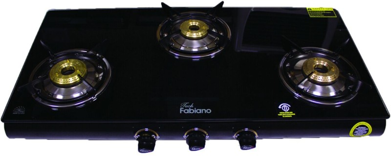Fabiano ( G-300 ) Glass, Stainless Steel Manual Gas Stove(3 Burners)