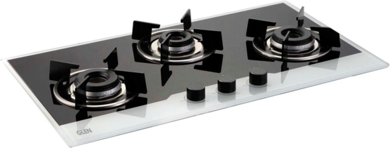 GLEN Built-in Glass Hob 1073 IN BW Glass Automatic Gas Stove(3 Burners)