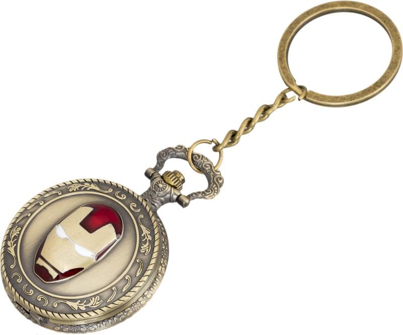 Shubheksha Iron Man Design Pocket Watch (With Wooden Gift Box) Metallic Key Chain