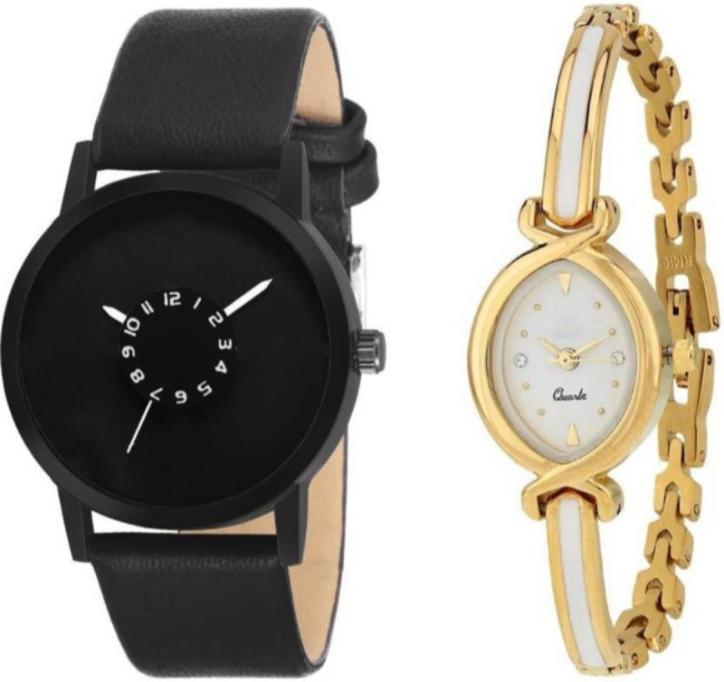 swanos New Collection watch Color Black & White_Golden Leather Belt & Bracelet type watch For _Men & Women Analog Watch - For Men & Women