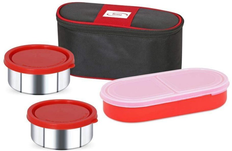 Rema Lunch Box Tiffin with Bag - Set of 3 Containers/Dabba (2 Steel Containers & 1 Roti Container) with Bag - Direct Delivery from Factory 3 Containers Lunch Box(750 ml)