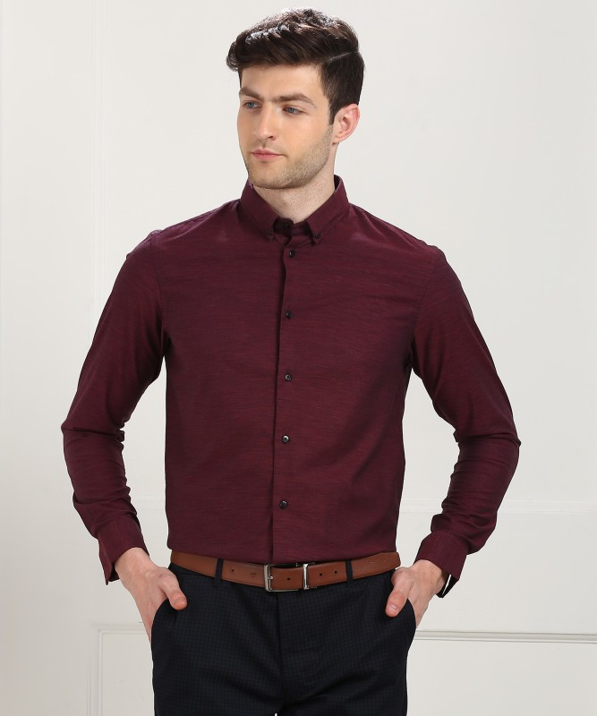 Arrow New York Men's Solid Formal Maroon Shirt