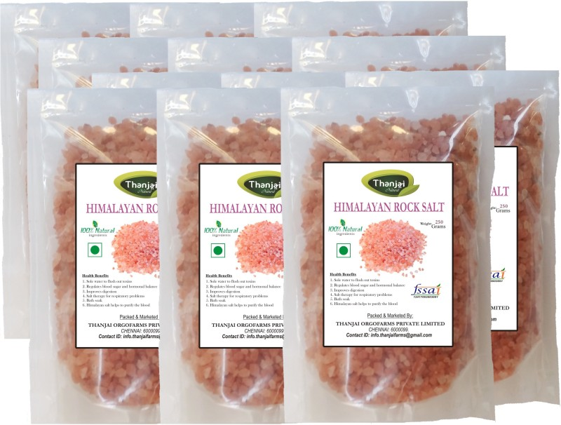 THANJAI NATURAL Himalayan 1st Quality Pink Rock Salt 3000grams Best Offer Himalayan Pink Salt(3000 g, Pack of 12)