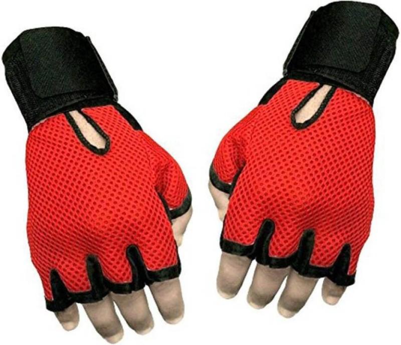 Cp Bigbasket Sweat Leather Gym & Fitness Gloves (Free Size, Red, Black)