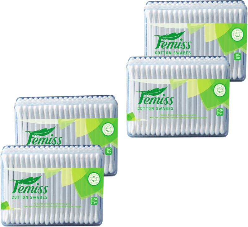 femiss cotton swabs box of 100 sticks (pack of 4)(4 Units)