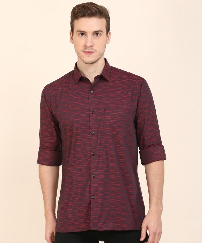 Van Heusen Men Self Design Formal Black, Maroon Shirt