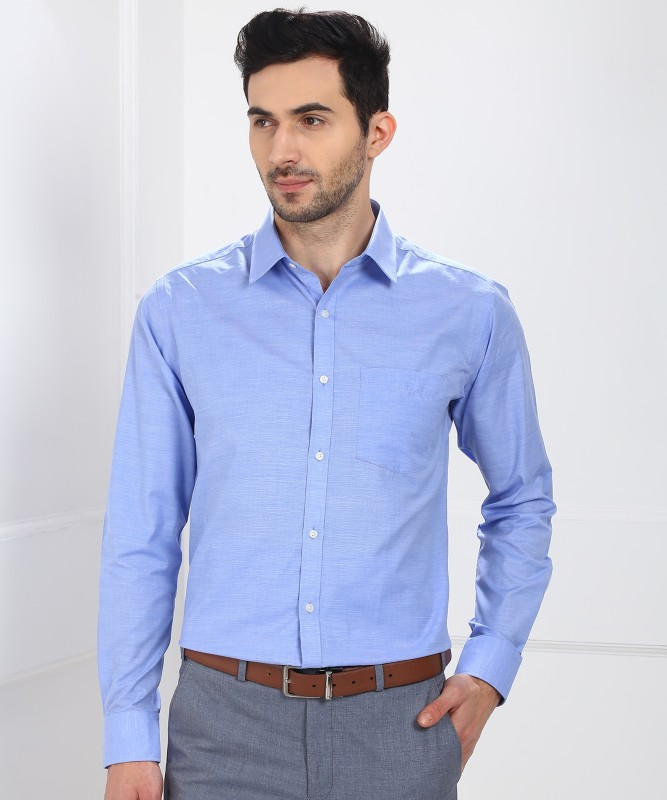 Park Avenue Men's Self Design Formal Light Blue Shirt