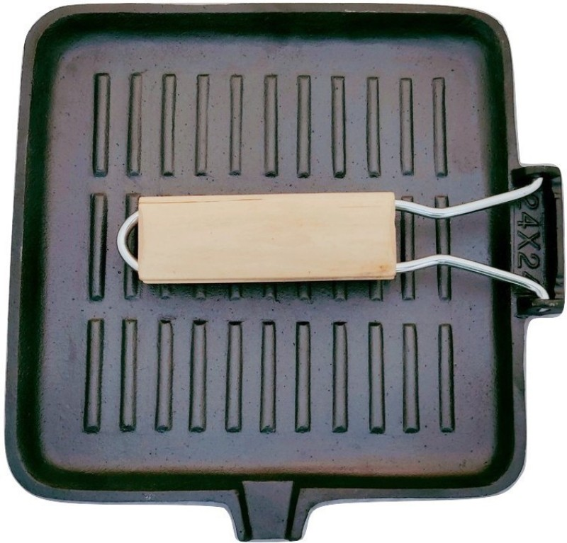 ekitchen Cast Iron Pre-Seasoned Square Grill Pan with foldable Wooden Handle Rib Roaster Grill(Pack of 1)