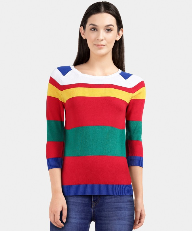 United Colors of Benetton Striped NA Casual Women Multicolor Sweater