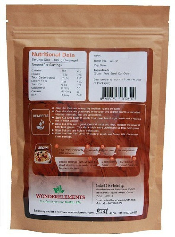 Wonderelements Gluten Free Steel Cut Oats 500G(500 g, Pouch)