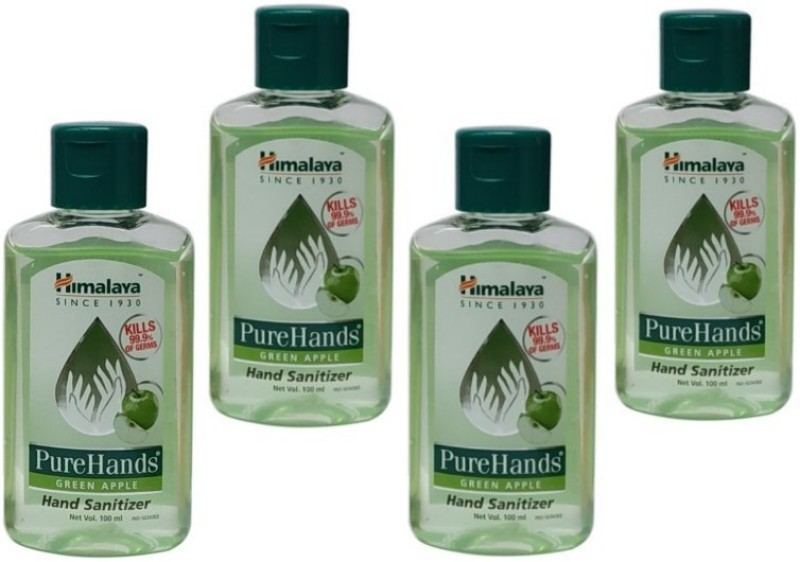 Himalaya Pure Hand Sanitizer green apple fragrance set of 4 packs 100 ml each Total 400 ml Bottle(4 x 100 ml)