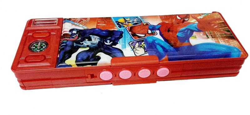 Dhinchak password secret password protected, Super Heros print, for boys pencil box, safe your valuables Art Plastic Pencil Box(Set of 1, Red)