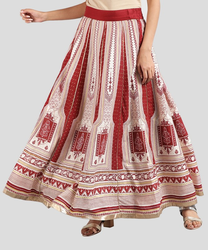 W Printed Women's Regular Red Skirt
