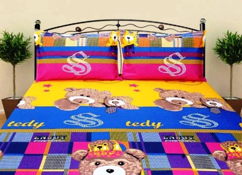 Royal Krishna 144 TC Polycotton, Satin, Cotton Double Cartoon Bedsheet(Pack of 1, Blue, Pink, Yellow)