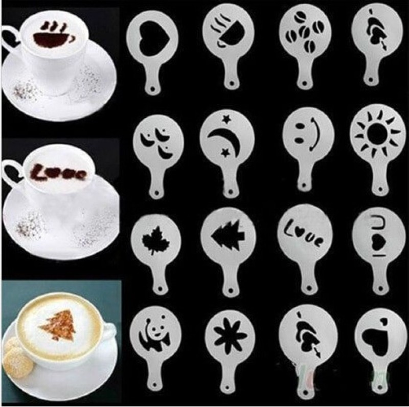 Shopline 16 pcs Decorating Cake/Milk Coffee Stencils(Pack of 16)