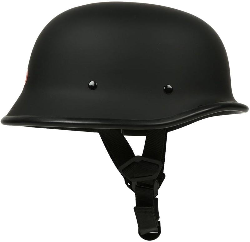 Shoolin Retro German Style Half Helmet for Motorbike Motorbike Helmet(Matte Black)