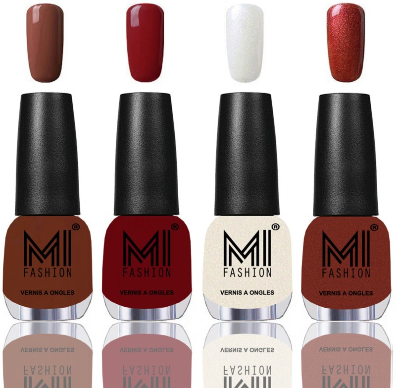 MI Fashion Among the Best Ever Shine Nail Polish Long Lasting Collection of 4 Pcs Chocolate Brown,Reddish Maroon,Pearly White Chrome,Reddish bronze(Pack of 4)