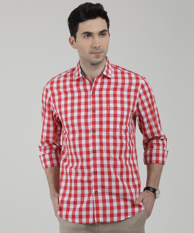 John Players Men's Checkered Casual Red Shirt