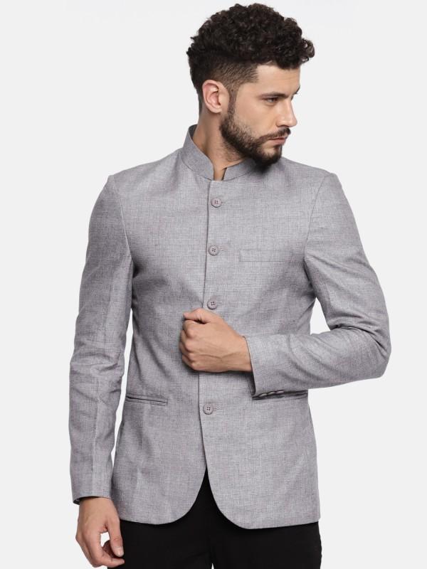 The Indian Garage Co Checkered Bandhgala Casual Men Blazer(Grey)
