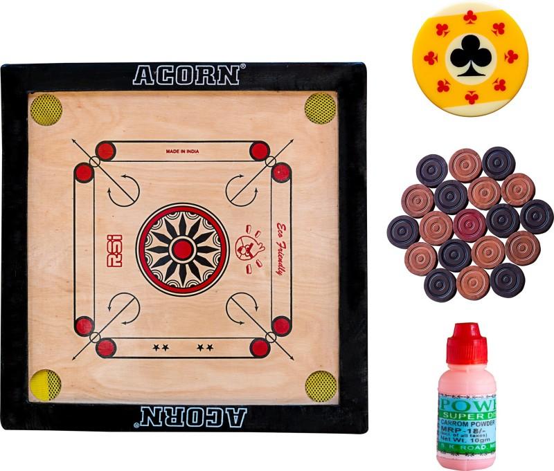 Acorn® Acorn Carrom Combo - Wooden Board, Pawns, Striker, Powder 18 inch Carrom Board(Multicolor)