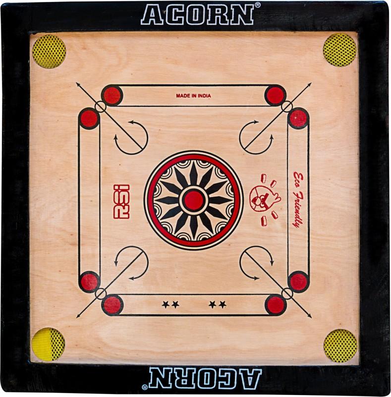 Acorn® Acorn Wood Carrom Board 18x18Inch (Multicolour) 18 inch Carrom Board(Multicolor)