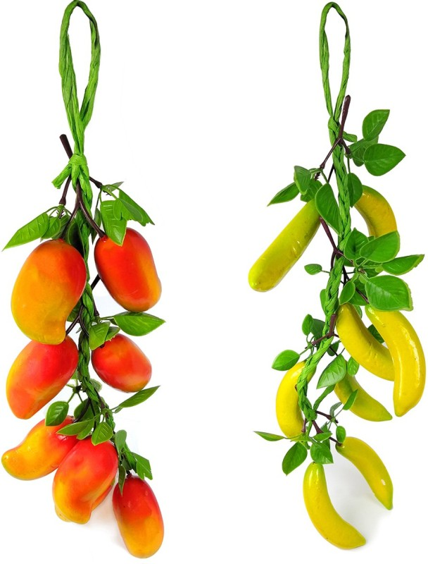 Crystu Artificial Mango With Banana for Decorate Kitchen Wall Hanging And Parties Restaurants Table Centerpiece Décor Pack of 2 pc Artificial Fruit(Set of 2)