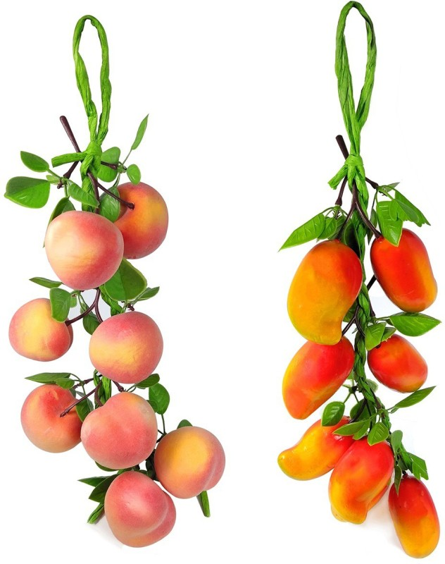 Crystu Artificial Mango With Peach for Decorate Kitchen Wall Hanging And Parties Restaurants Table Centerpiece Décor Pack of 2 pc Artificial Fruit(Set of 2)