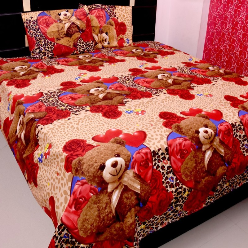 kajims 144 TC Polycotton Double 3D Printed Bedsheet(Pack of 1, Red Heart And Red Roses, Brown, Taady)