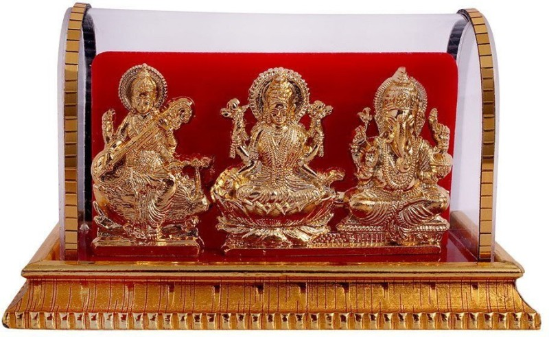 International Gift Gold Plated Lord Ganesh & Maa Lakshmi & Sarswati Acrylic Idol/Hindu God Ganpathi & Goddess Laxmi Pooja Mandir/Car Dashboard/Office Tabel Decorative Showpiece - 12 cm(Gold Plated)