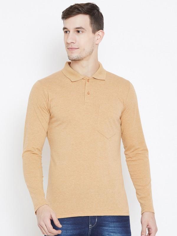 Camey Self Design Men Polo Neck Beige T-Shirt