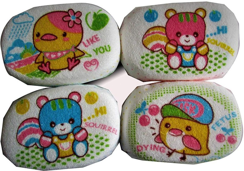 BABY FASHION BABY'S BATH SPONGE MULTI-COLOR (PACK OF 4)