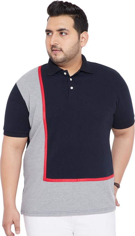 bigbanana Color block Men Polo Neck Dark Blue, Grey, Red T-Shirt