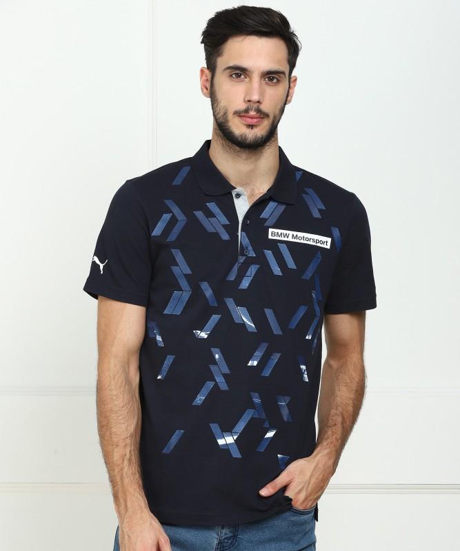 Puma Printed Men's Polo Neck Dark Blue T-Shirt