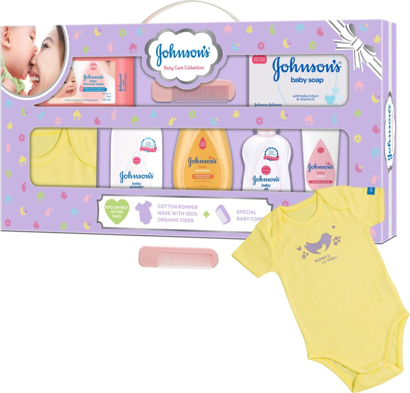 Johnson's Baby Care Collection Gift Set with Organic Cotton Dress (8 Pieces)(Multicolor)