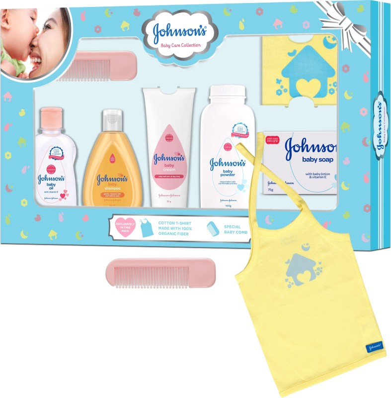 Johnson's Baby Care Collection Gift Set with Organic Cotton T-Shirt (7 Pieces)(Multicolor)