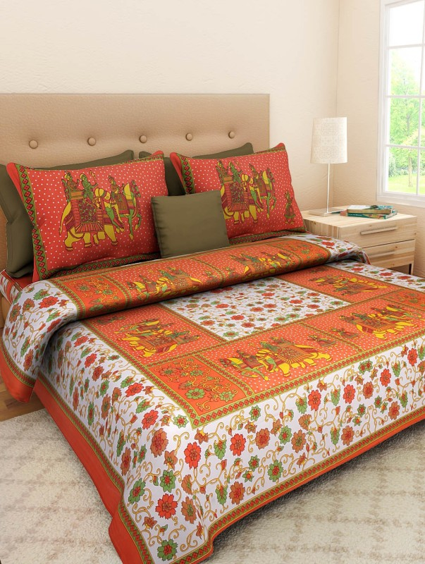 Ahmedabad Bedding Cotton 180 TC Cotton Double Printed Bedsheet(Pack of 1, Multicolor)