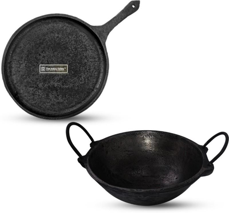 The Indus Valley Cast Iron Cookware, Dosa Tawa |10Inch| + Kadai |2.5L|,Pre-Seasoned,Black Cookware Set(Cast Iron, 2 - Piece)