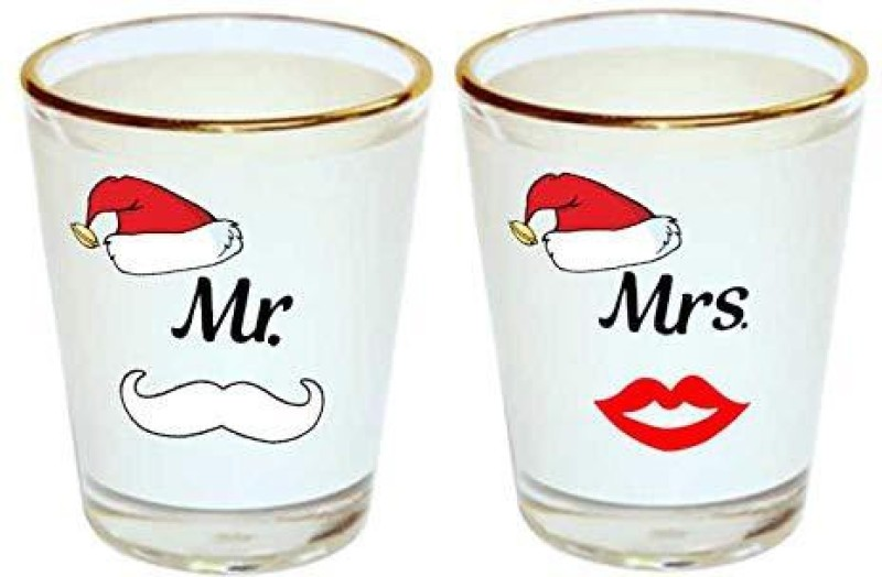 iKraft Mr.Santa and Mrs.Santa Printed Shot Glass Set- Funny Shot Glass Gift for Couple, Husband, Wife Glass Set(Glass, 45 ml, Clear, Pack of 2)