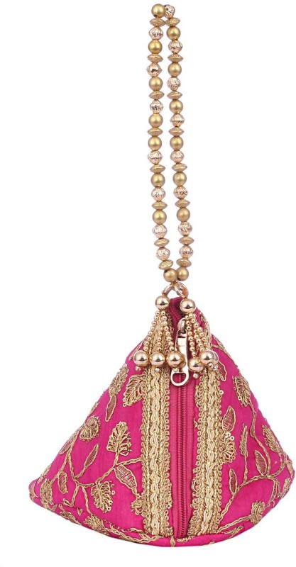Bagaholics Ethnic Silk Potli bag Batwa Pouch Clutch with Embroidery and Metal Bead work Gift For Women Potli(Pink)