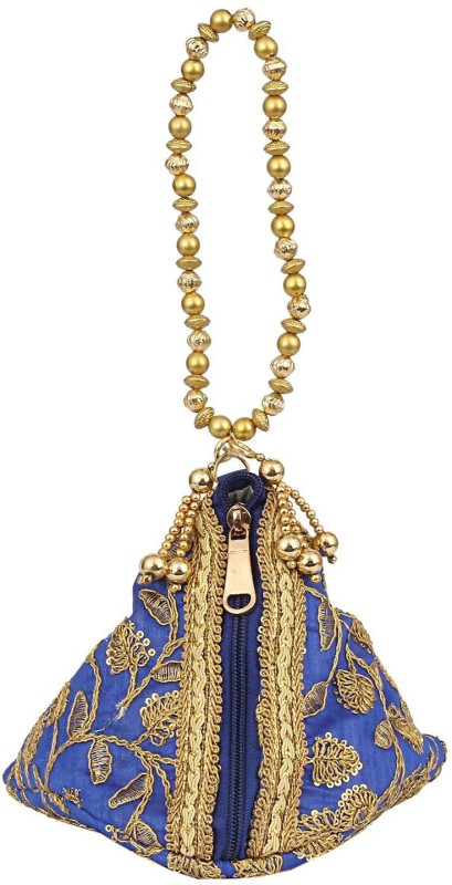 Bagaholics Ethnic Silk Potli bag Batwa Pouch Clutch with Embroidery and Metal Bead work Gift For Women Potli(Blue)