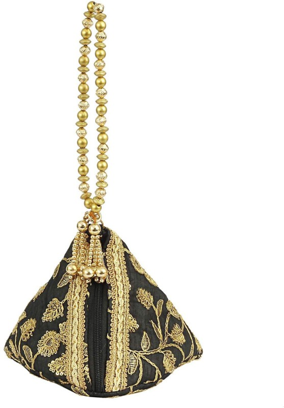 Bagaholics Ethnic Silk Potli bag Batwa Pouch Clutch with Embroidery and Metal Bead work Gift For Women Potli(Black)
