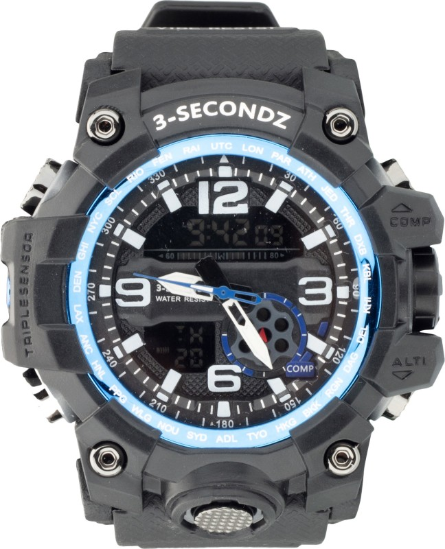Three Secondz Best Stylish Analog Digital Multi Functional Dual Time Outdoor Dial Sport Watches for Boys and Men Analog-Digital Watch  - For Men
