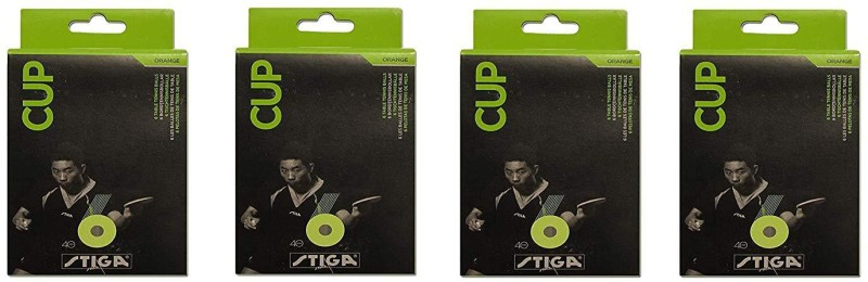 Stiga CUPTABLE TENNIS BALL PACK OF 4 ( 4 X 6PCS) BY ONE SHOT RETAIL Table Tennis Ball(Pack of 4, Orange)